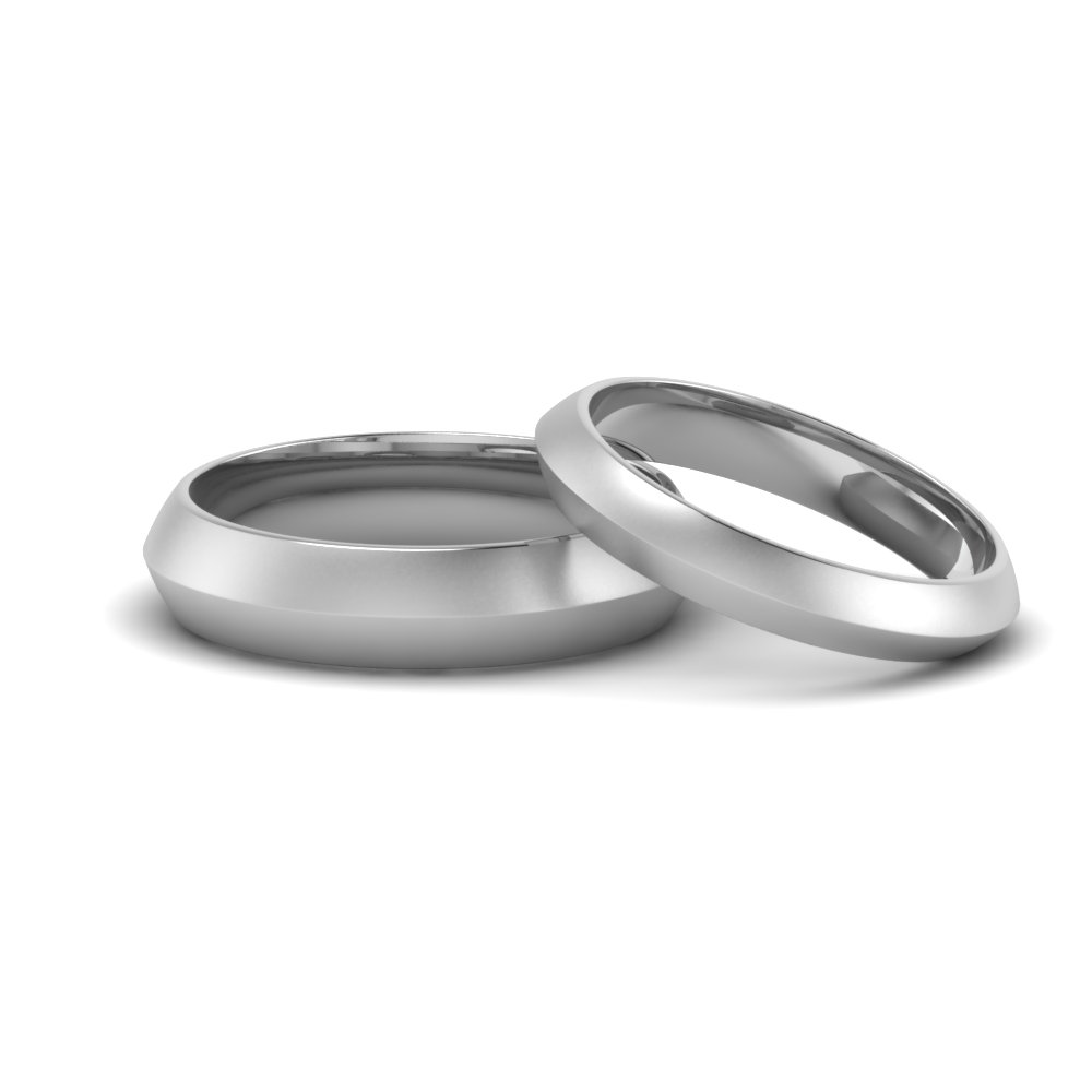 matching knife edge wedding band sets in 14K white gold FD8872B NL WG