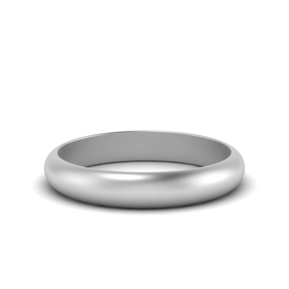 Matte Dome Wedding Band For Her 4MM In 14K White Gold