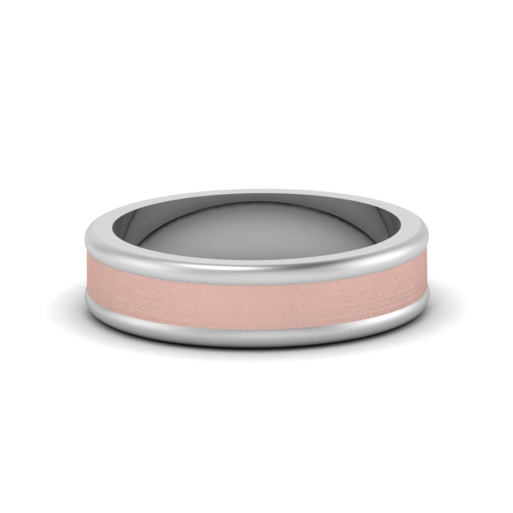 matte finish 2 tone mens wedding band in 14K white gold FDM8343B NL WG
