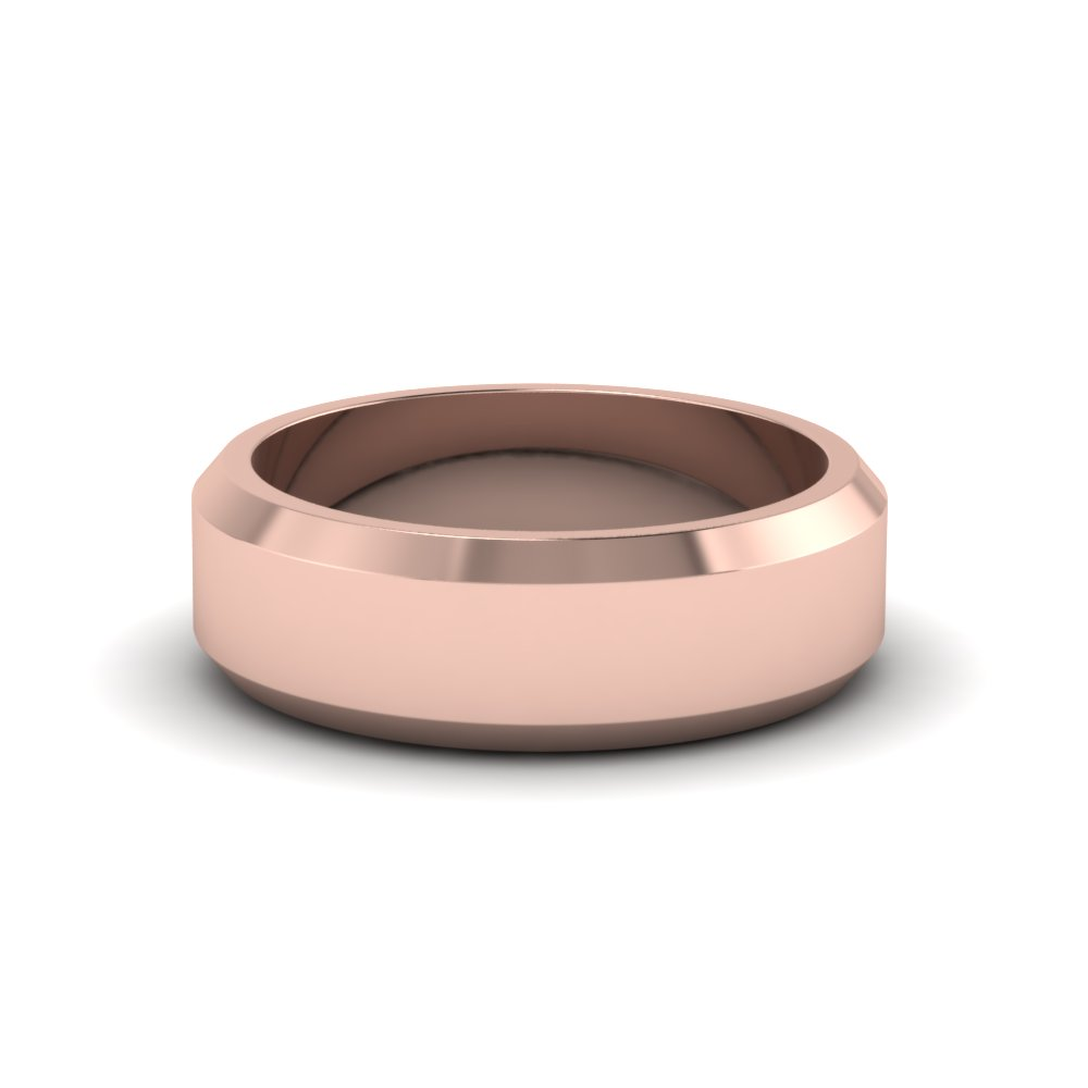 matte finish beveled wedding anniversary band for men in 14K rose gold FDM8112B NL RG