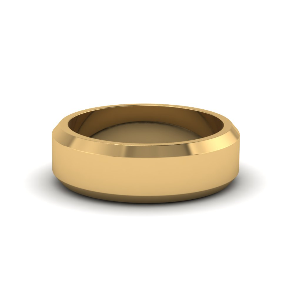 matte finish beveled wedding anniversary band for men in 14K yellow gold FDM8112B NL YG