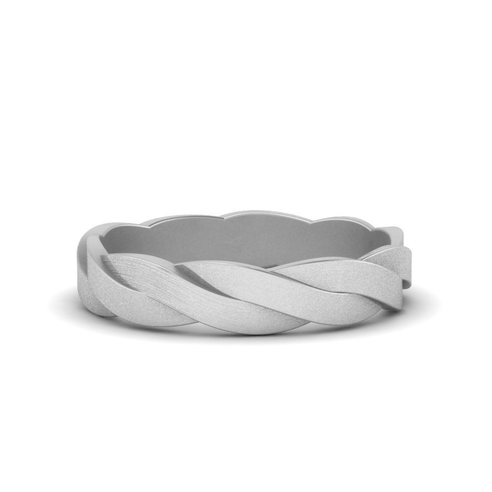 matte finish twisted wedding band in 14K white gold FDM8573BNL WG
