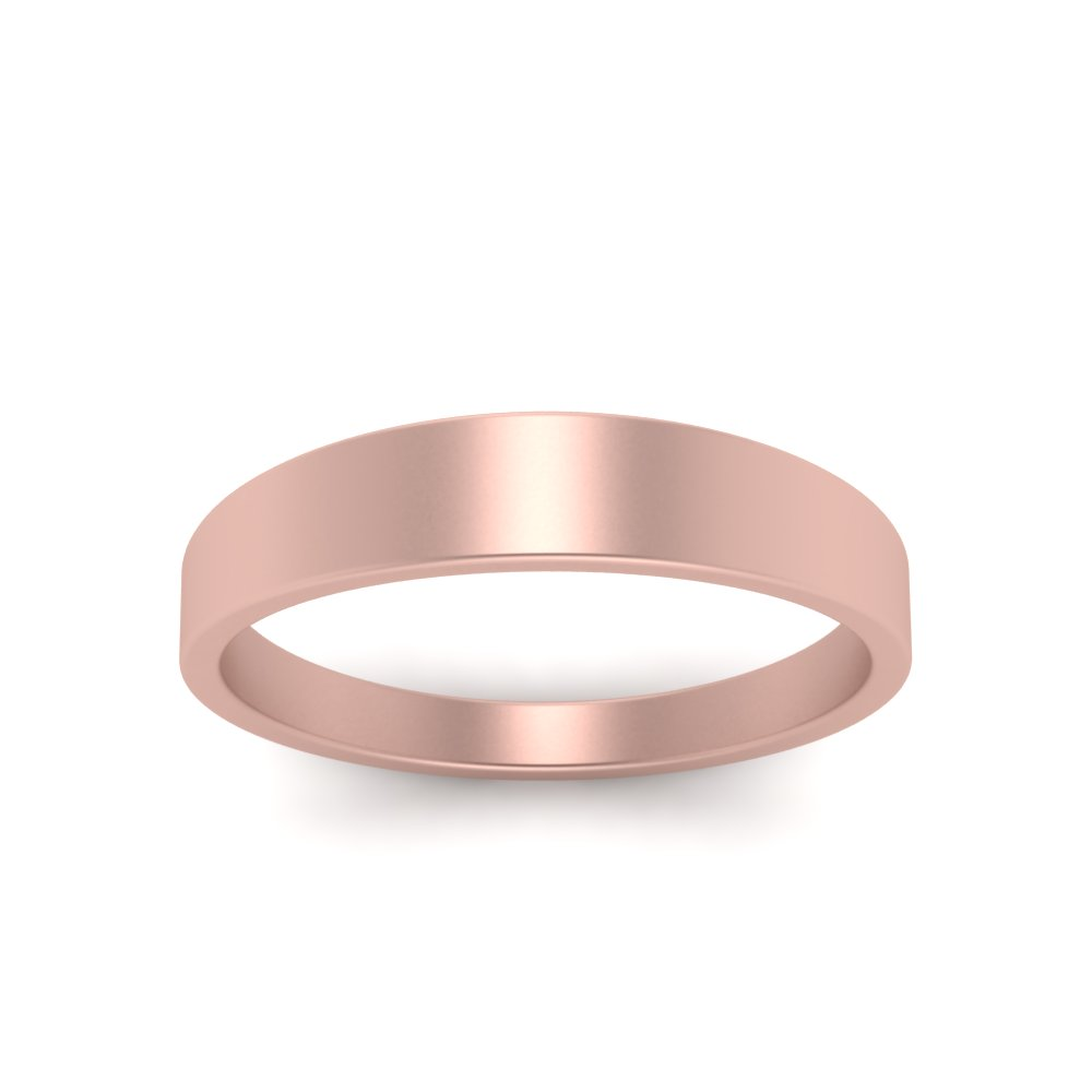 Matte Wedding Band 4MM In 14K Rose Gold | Fascinating Diamonds