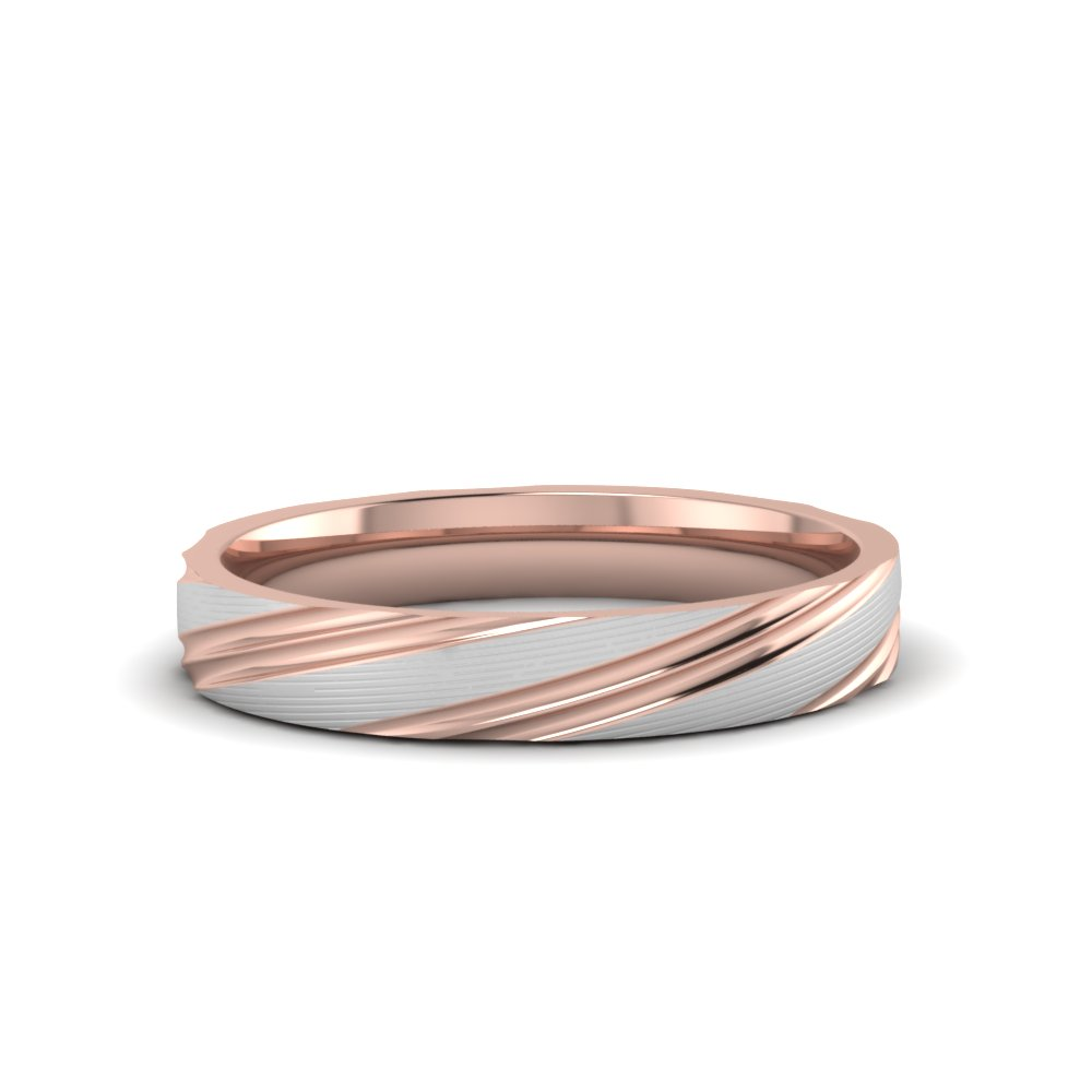 mens 2 tone wedding band in 14K rose gold FD51258B NL RG