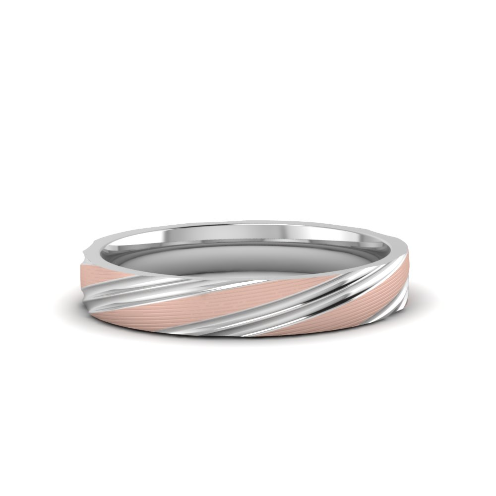 Platinum Mens 2 Tone Wedding Band