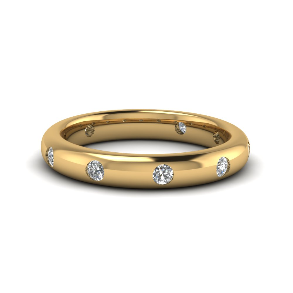 Mens Yellow Gold Bezel Set Wedding Band