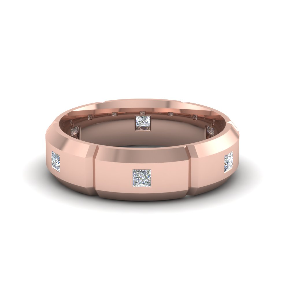 Bevel Edged Princess Cut Diamond Rose Gold Mens Wedding Band