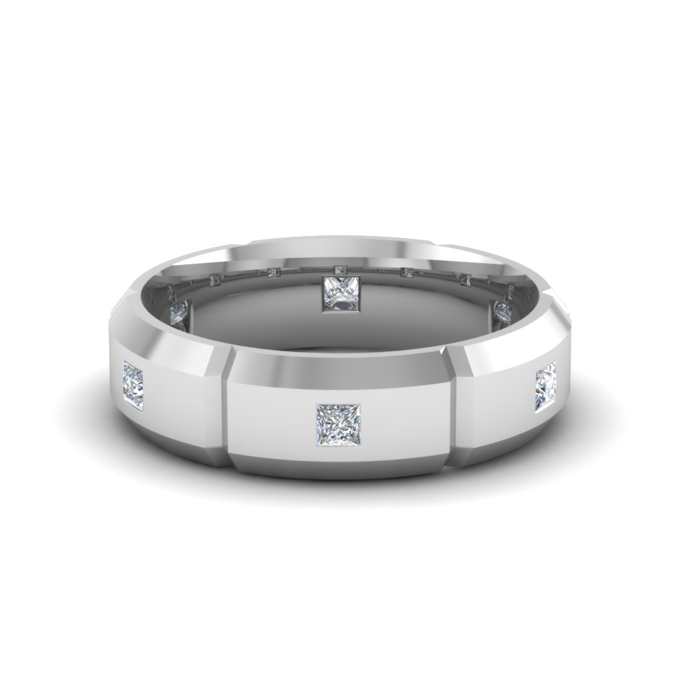 rare 14k white gold mens wedding bands | fascinating diamonds