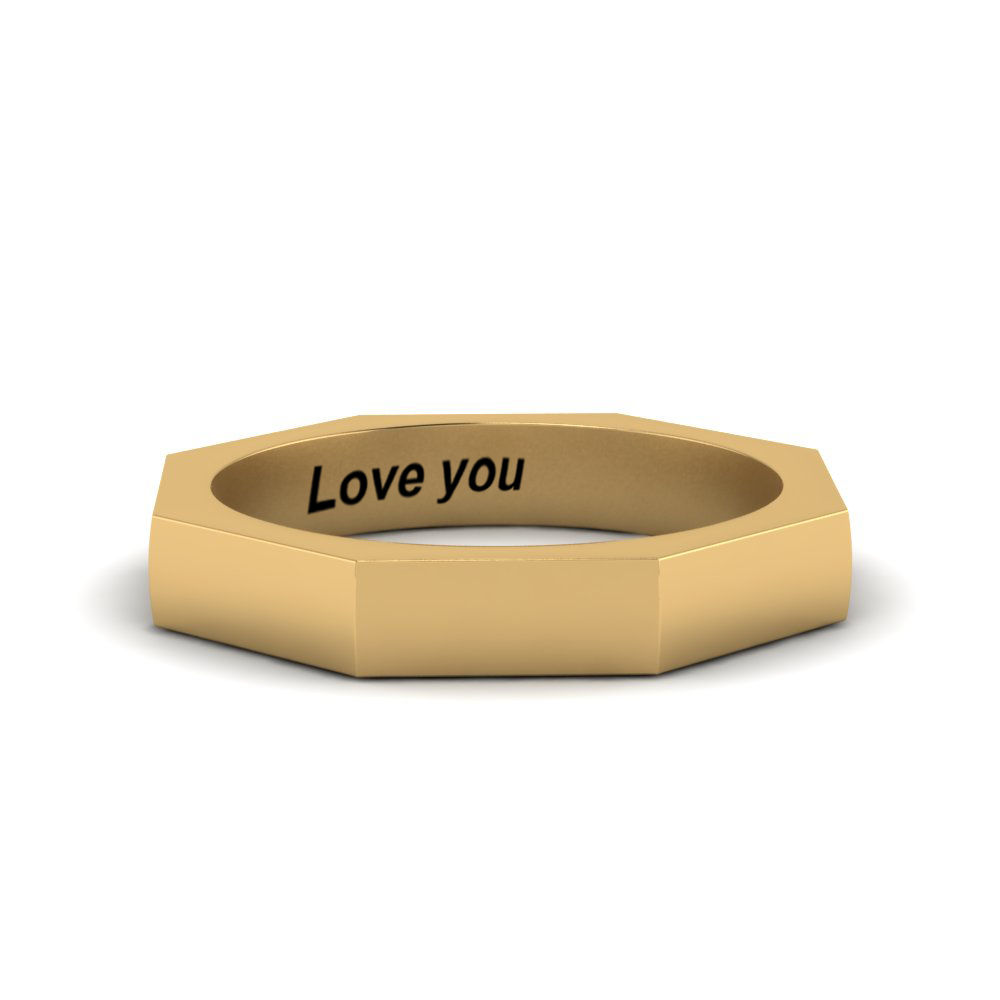 mens engravable comfort fit ring in FD120421B NL YG