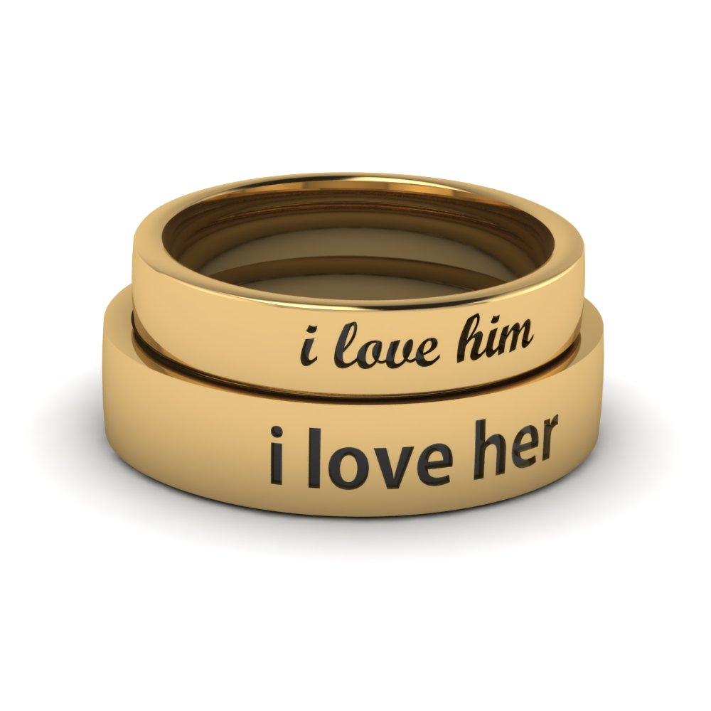 Engraved Gold Couple Bands
