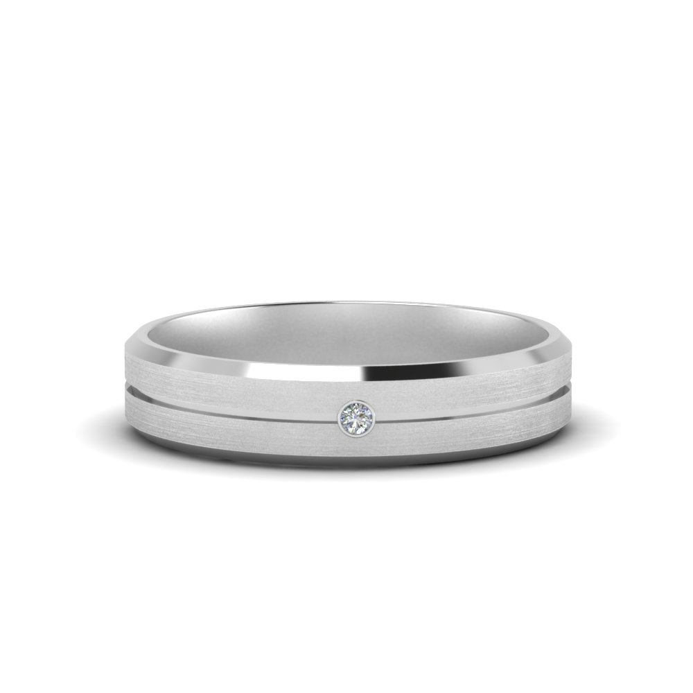 Mens Single Stone Engagement Ring In 14k White Gold Fascinating Diamonds