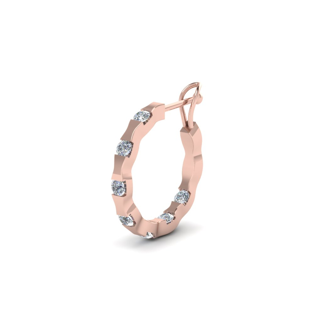 Mens Earrings With White Diamond In 14k Rose Gold