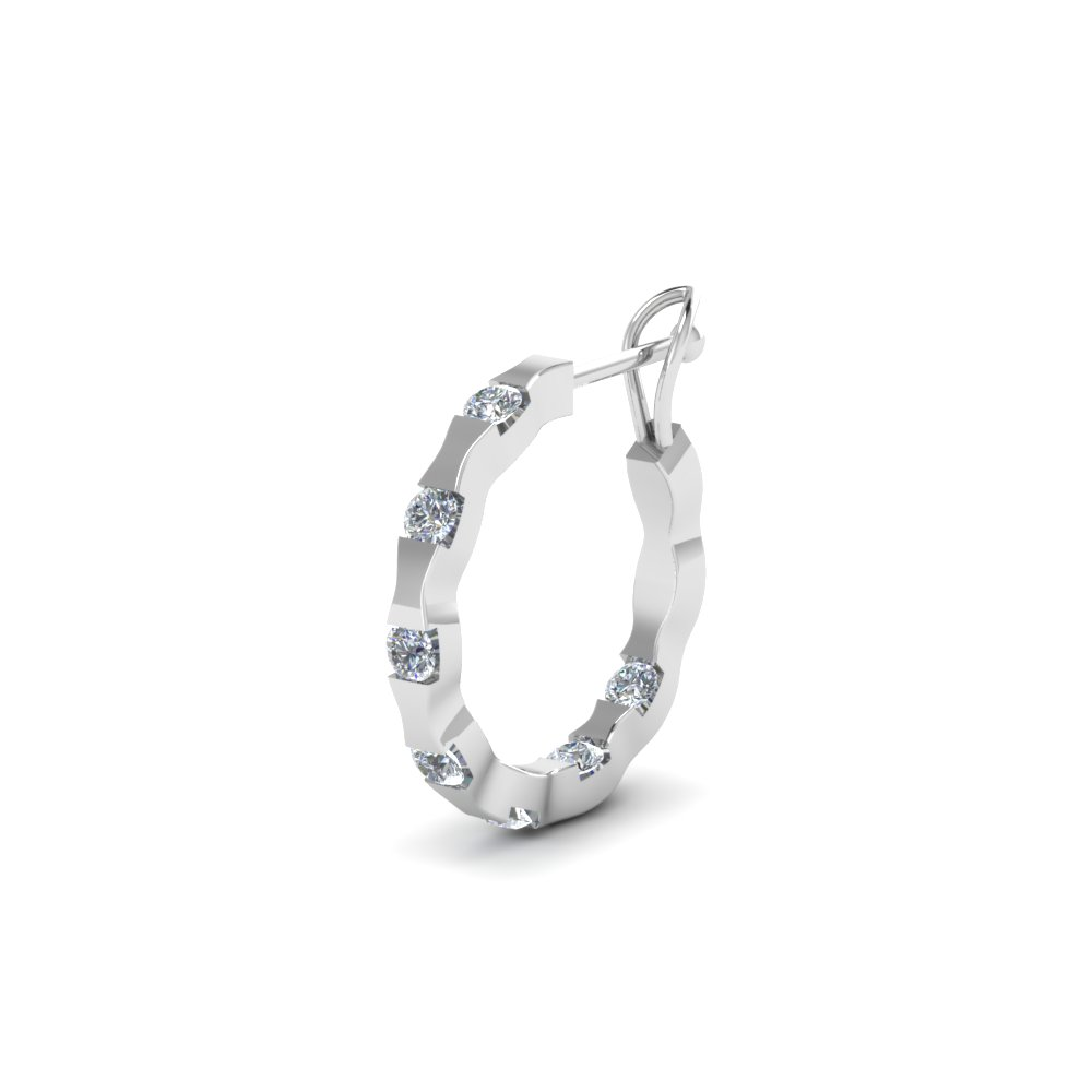 Mens Small Hoop Diamond Earring In 14k White Gold Fdmear66766 Nl Wg