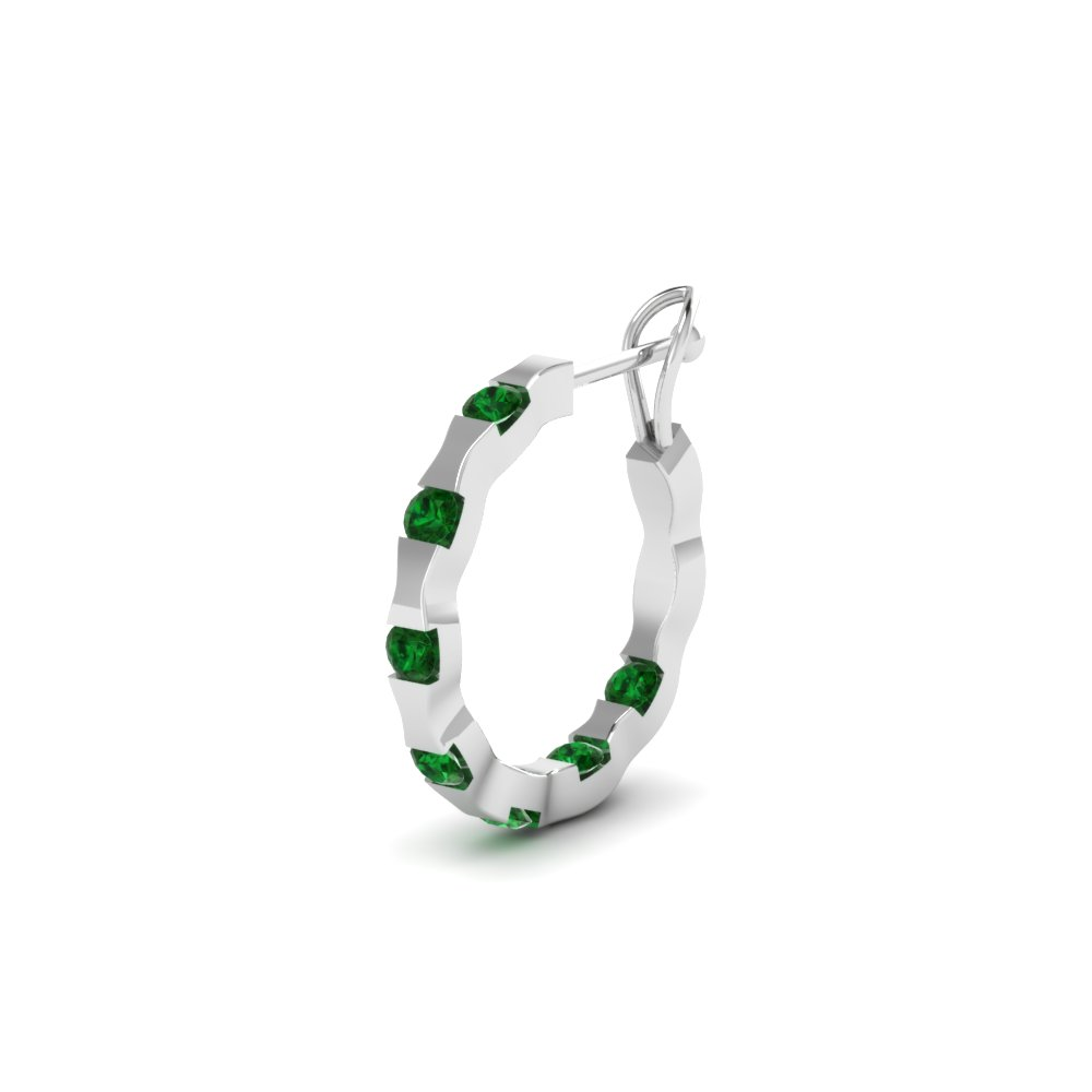 Mens Small Hoop Earring With Emerald In 18k White Gold Fdmear66766gemgr Nl Wg