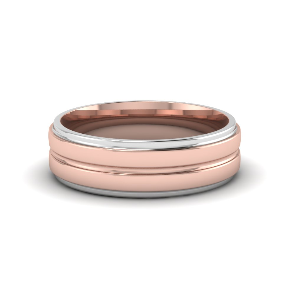 gold media band edge hammered white two s wedding bicolor toned rose ring centurion and men flat the tone rustic bands