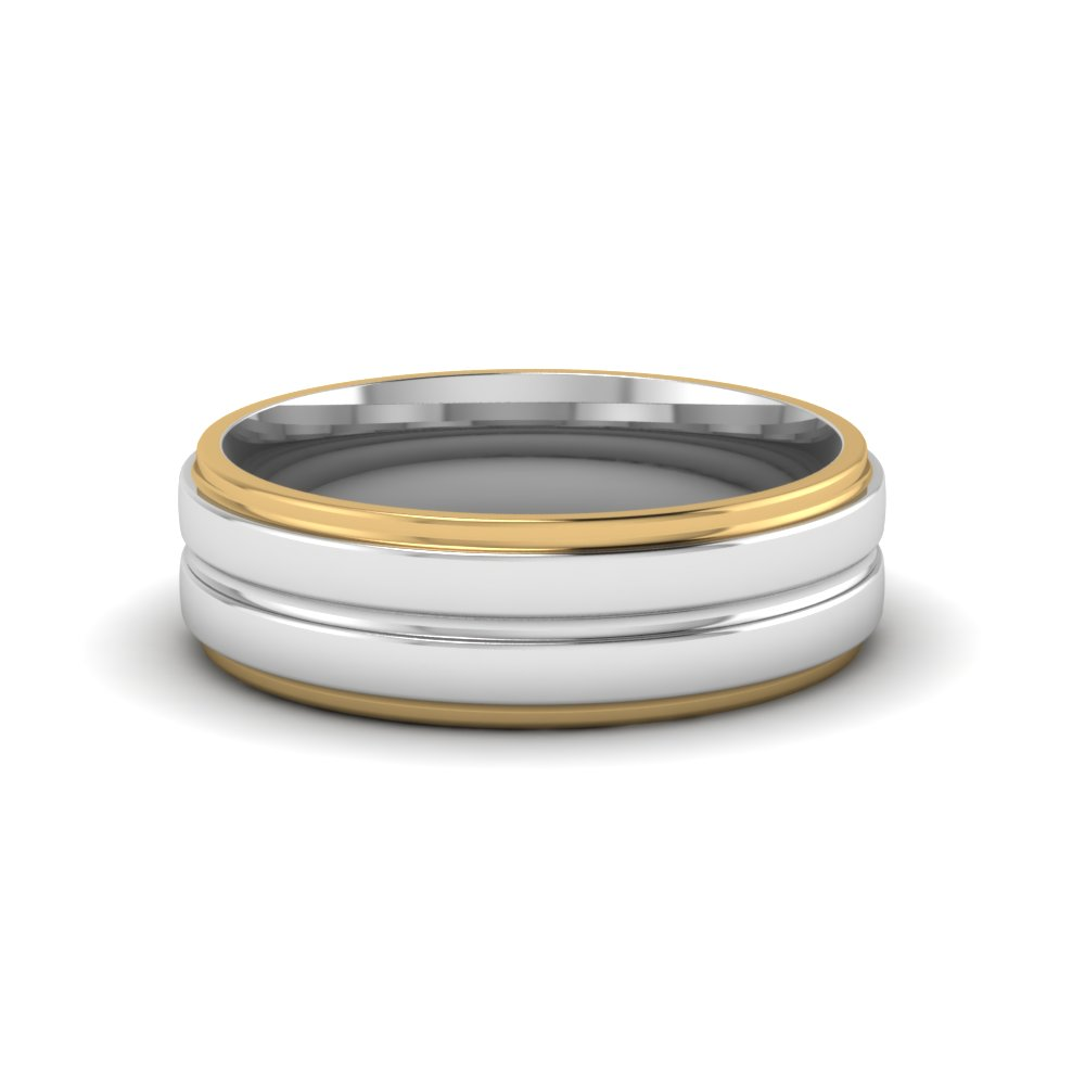 with ring wedding tone fit edge beveled silver flat mens top edges gold comfort bands two polished rose tungsten