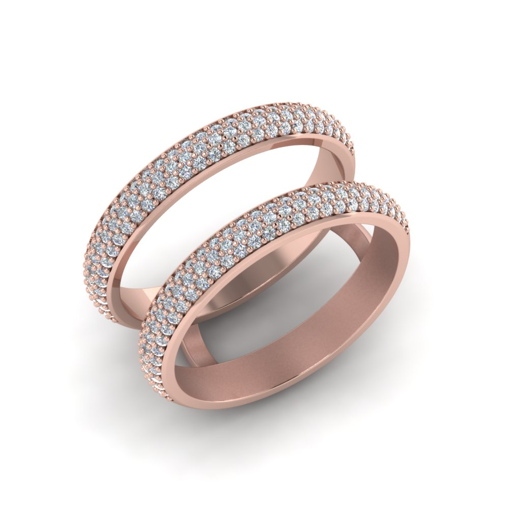 Micro Pave Diamond Wedding Ring Enhancer In 14K Rose Gold