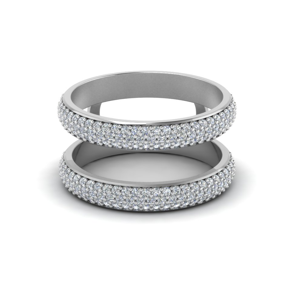 micro pave diamond wedding ring enhancer in 14K white gold FD123201RW NL WG