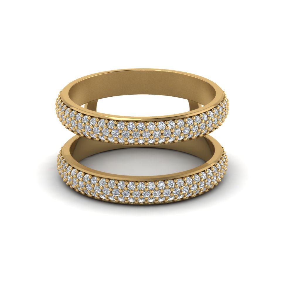 Micro Pave Diamond Wedding Ring Enhancer In 18K Yellow Gold