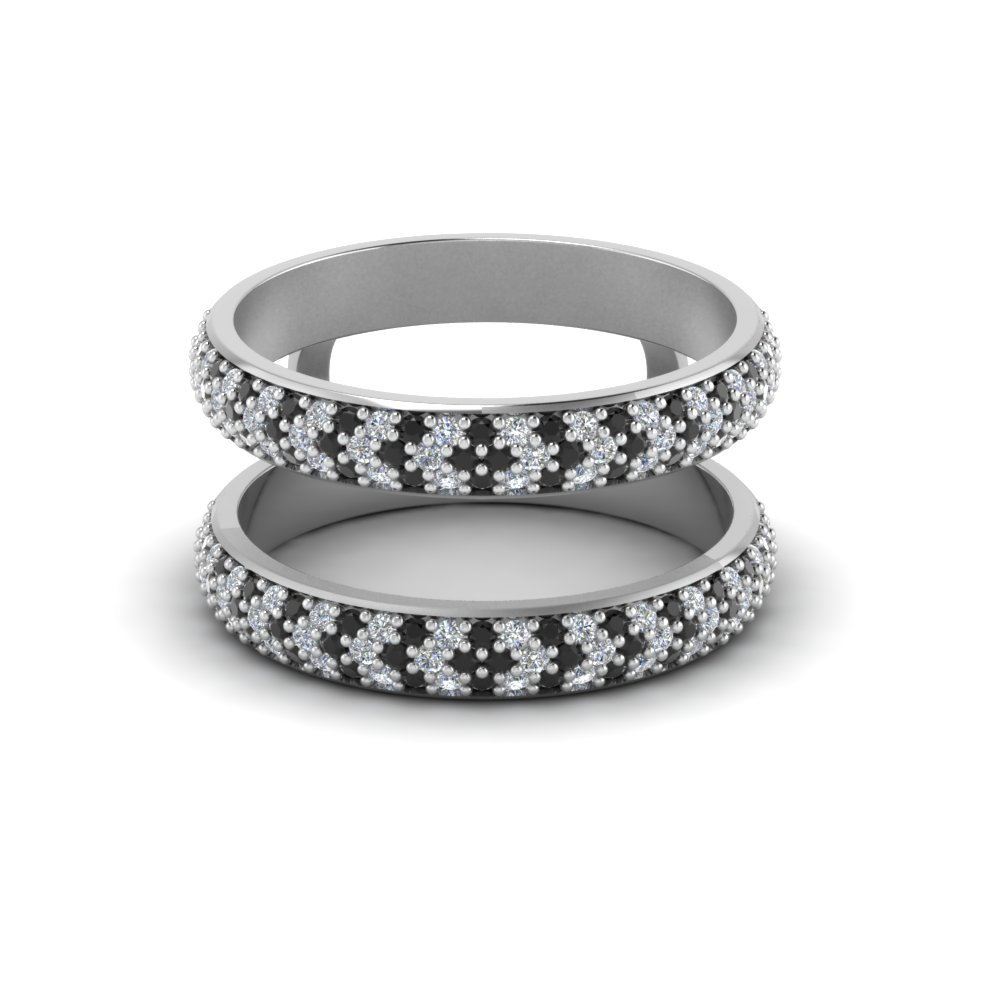 Micro Pave Wedding Ring Enhancer With Black Diamond In 14K White ...