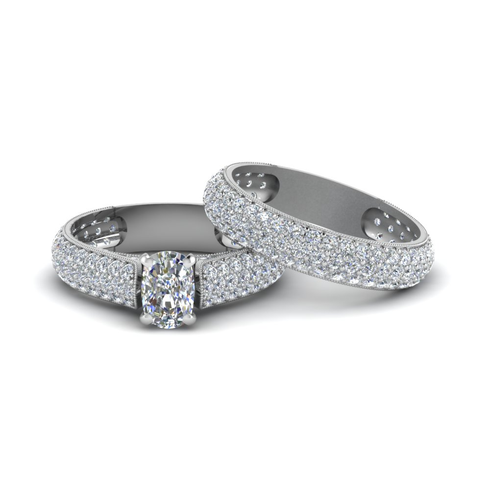 Micro Pave Diamond Ring Set
