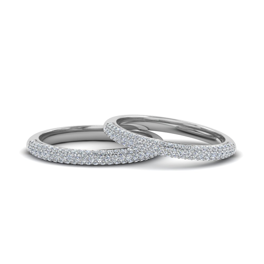Micropave Diamond Band For Lesbian Couple In 14K White Gold