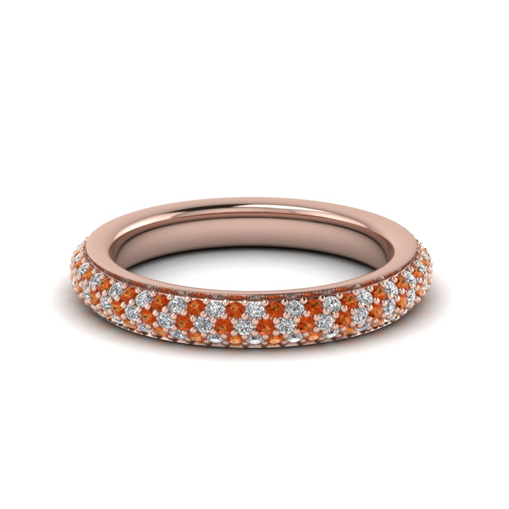 Womens Orange Sapphire Eternity Bands