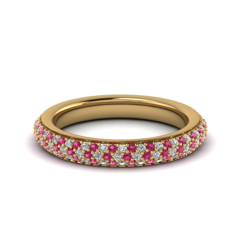 0.90 ct. micropave diamond eternity band with pink sapphire in 14K yellow gold FDEWB441GSADRPI NL YG