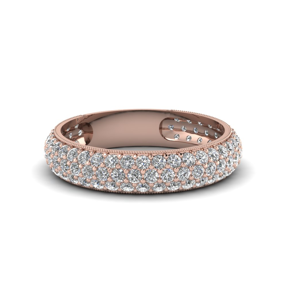 micropave diamond wedding band for women in 14K rose gold FDENS1452B NL RG