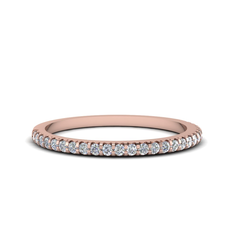 Rose Gold Diamond Wedding Band | Thin Round Diamond Band In 14k Rose Gold Fascinating Diamonds