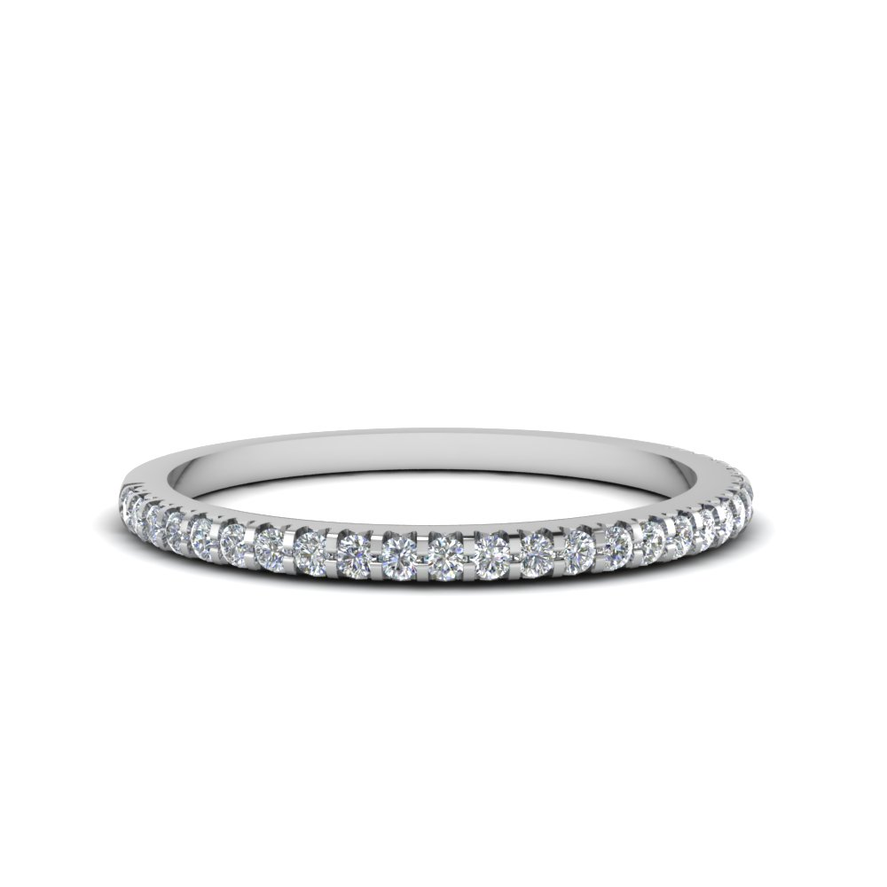 Thin Round Diamond Band In 14K White Gold Fascinating Diamonds