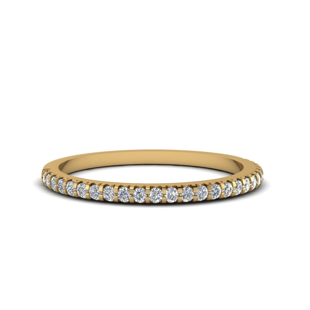 Thin Round Diamond Band In 18K Yellow Gold