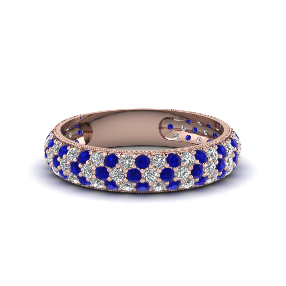 Micropave Diamond And Sapphire Custom Band