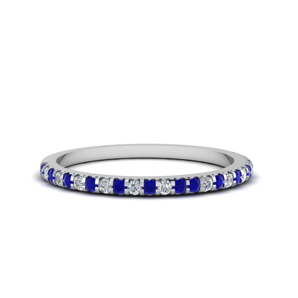 Thin Round Diamond Band With Sapphire In FDENS3009BGSABL NL WG