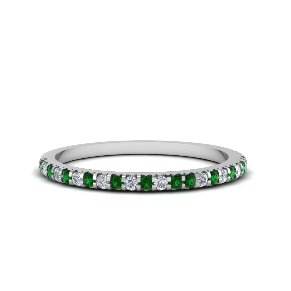Thin Round Diamond Band With Emerald In Fdens3009bgemgr Nl Wg