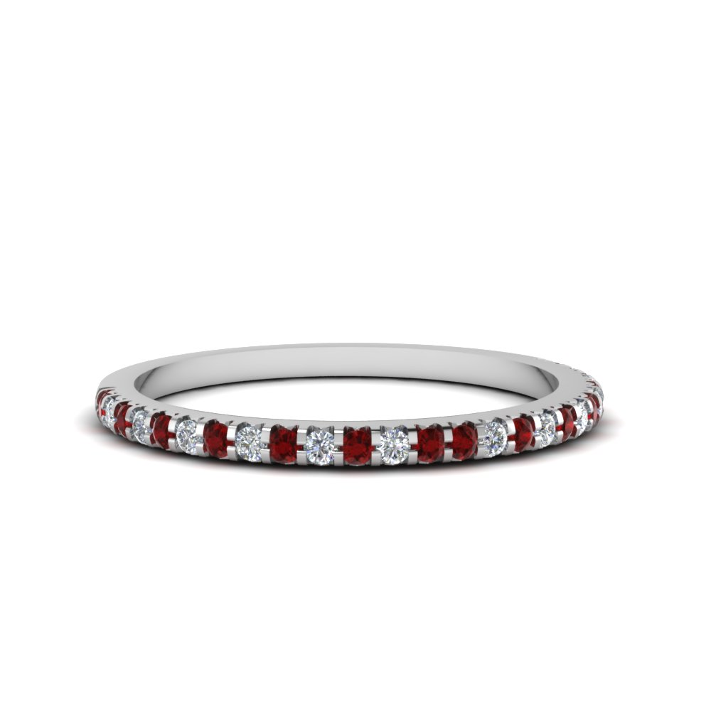 Micropave Diamond Wedding Band For Women With Ruby In 18K White