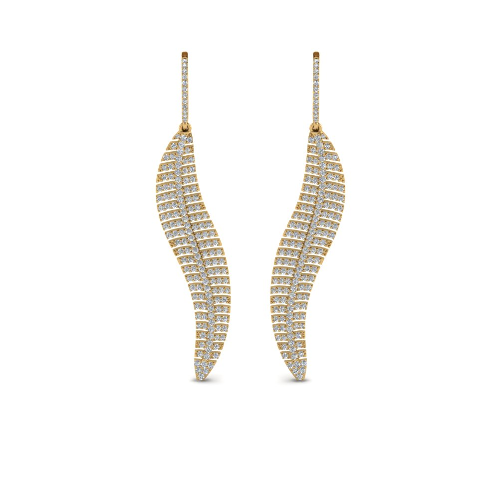 micropave leaf diamond earring in 14K yellow gold FDEAR8480ANGLE1 NL YG