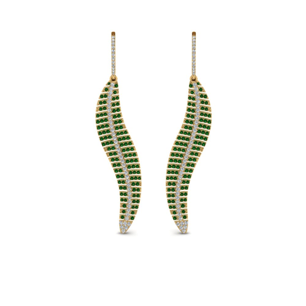 micropave leaf diamond earring with emerald in 18K yellow gold FDEAR8480GEMGRANGLE1 NL YG