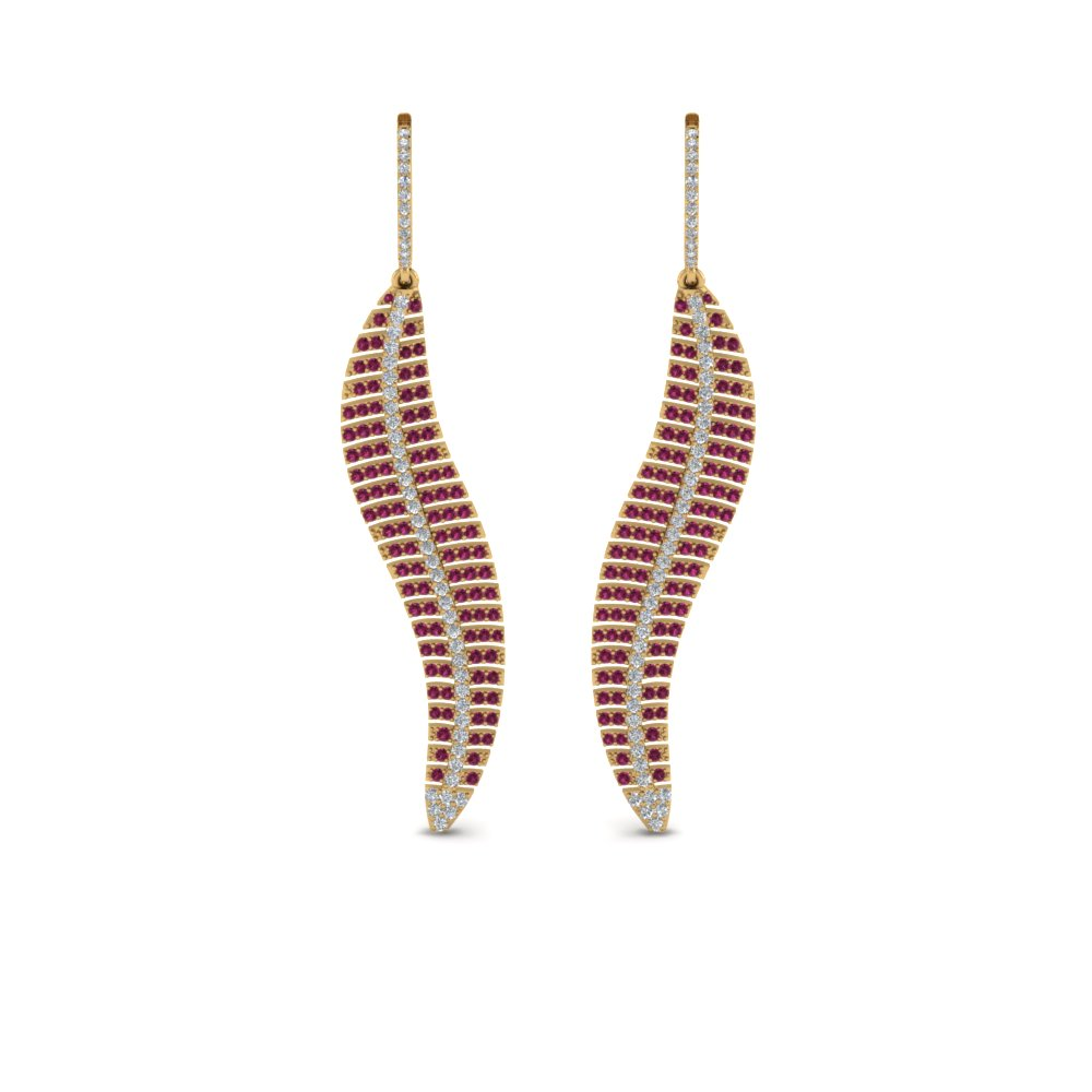 micropave leaf diamond earring with pink sapphire in 14K yellow gold FDEAR8480GSADRPIANGLE1 NL YG