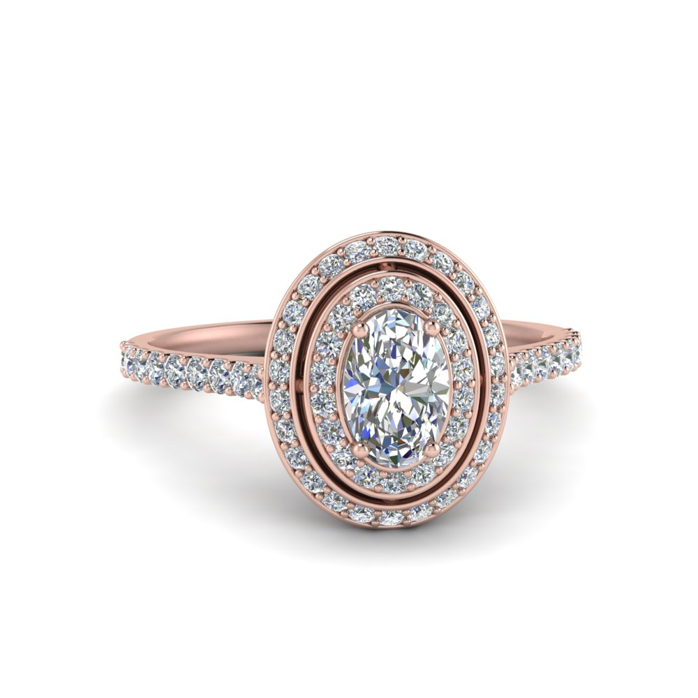 Double Halo Rose Gold Engagement Ring