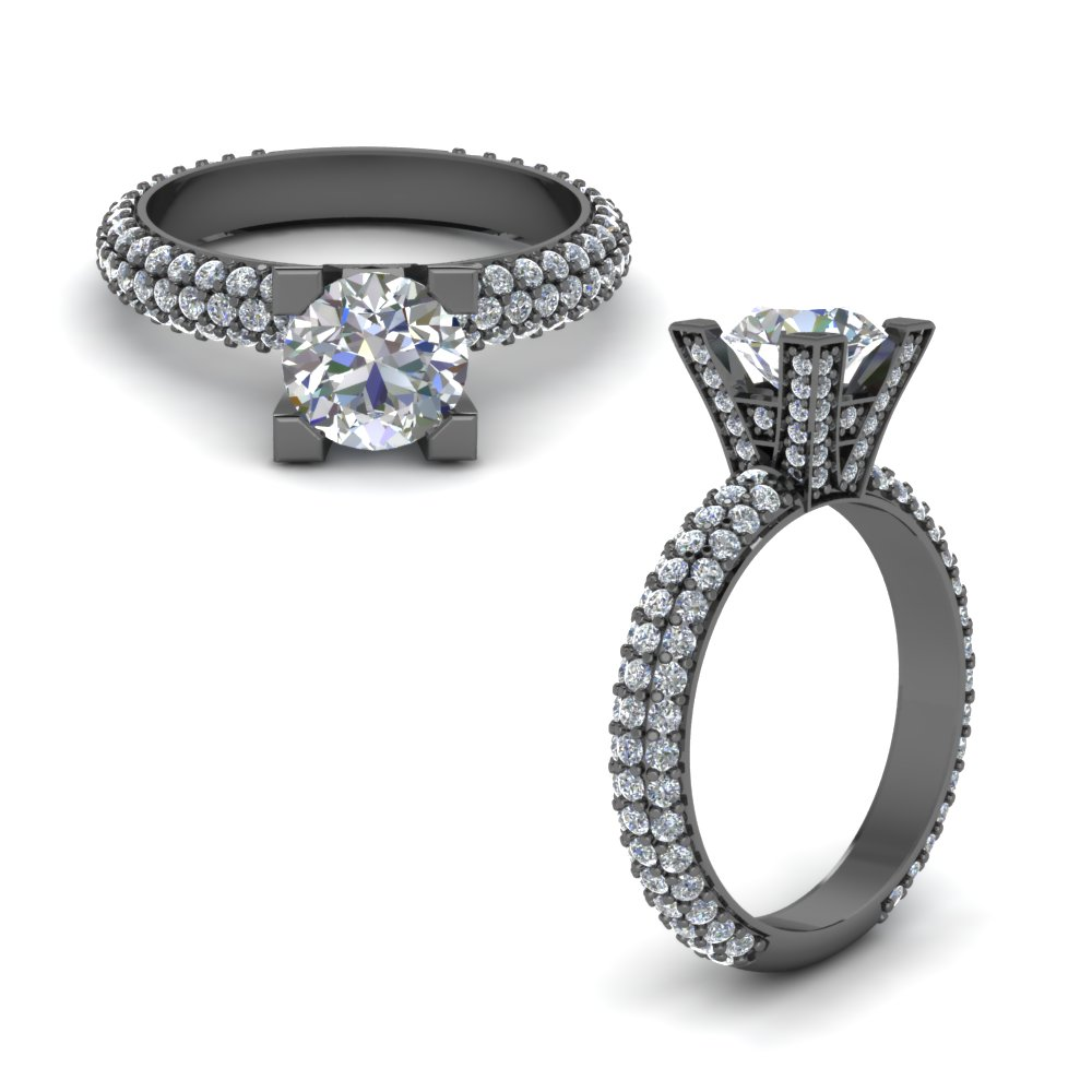 3 Row Pave Diamond Ring