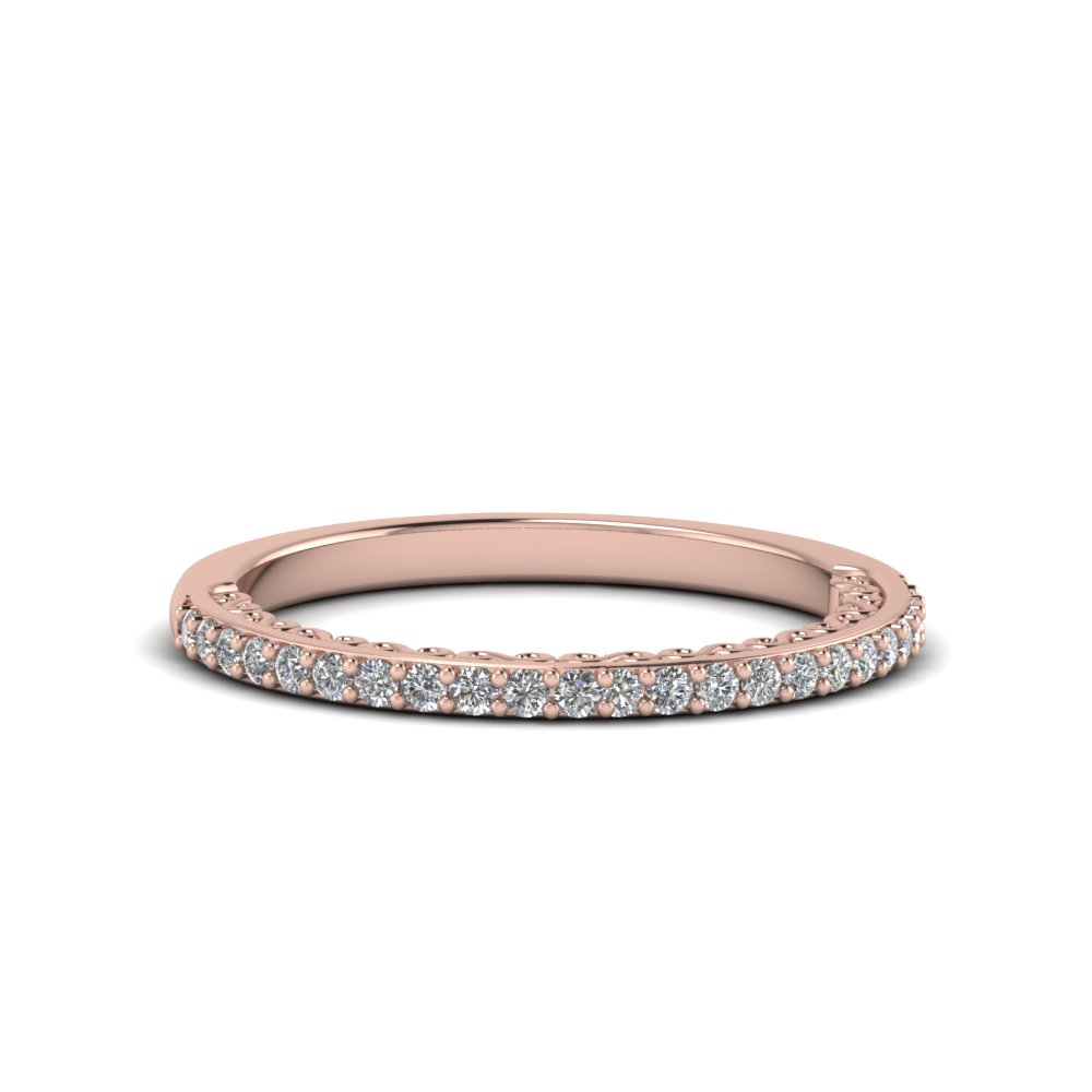 micropave thin diamond wedding band in 14K rose gold FD122910B NL RG