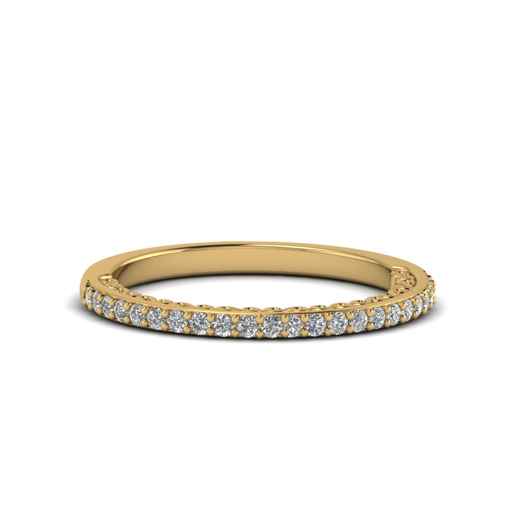 micropave thin diamond wedding band in 14K yellow gold FD122910B NL YG