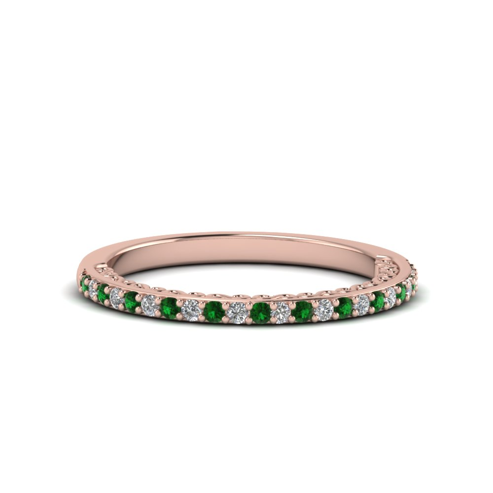 micropave thin diamond wedding band with emerald in 14K rose gold FD122910BGEMGR NL RG