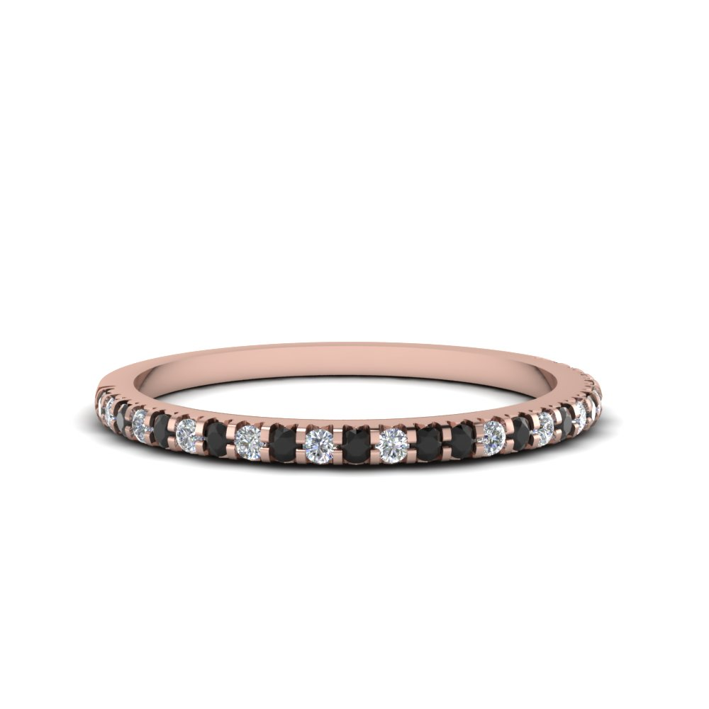 Thin Diamond Band Womens Wedding Bands With Black In 14K Rose Gold