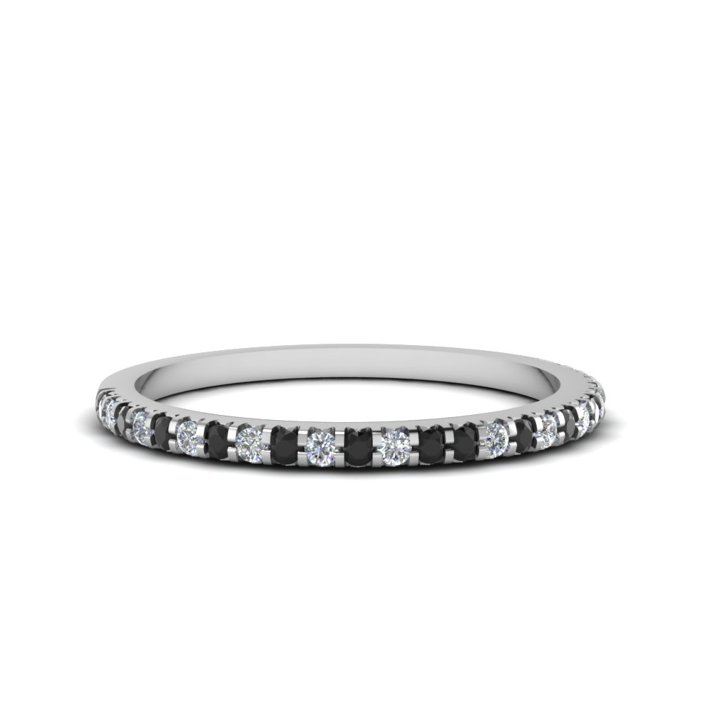 Thin Round Band With Black Diamond In Fdens3009bgblack Nl Wg