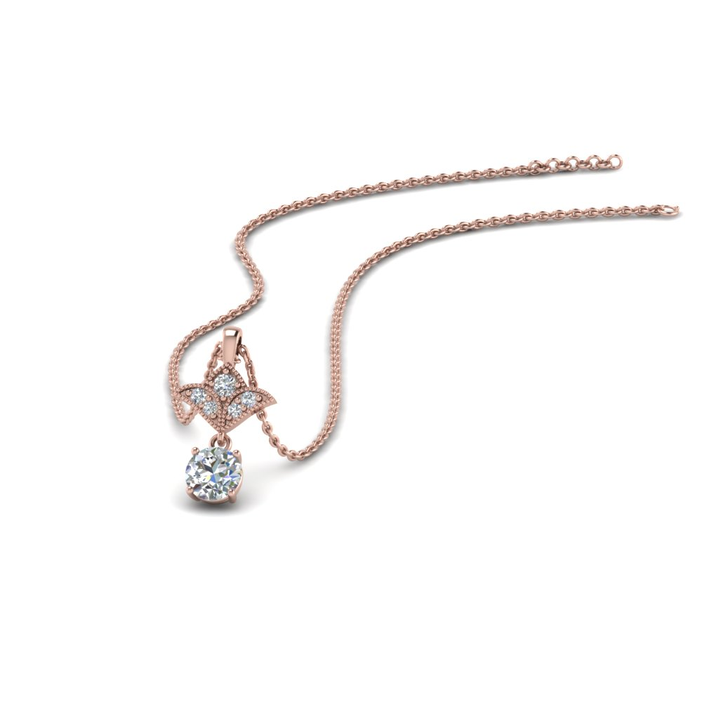 Milgrain 0.25 Ct. Round Diamond Drop Pendant In 14K Rose Gold