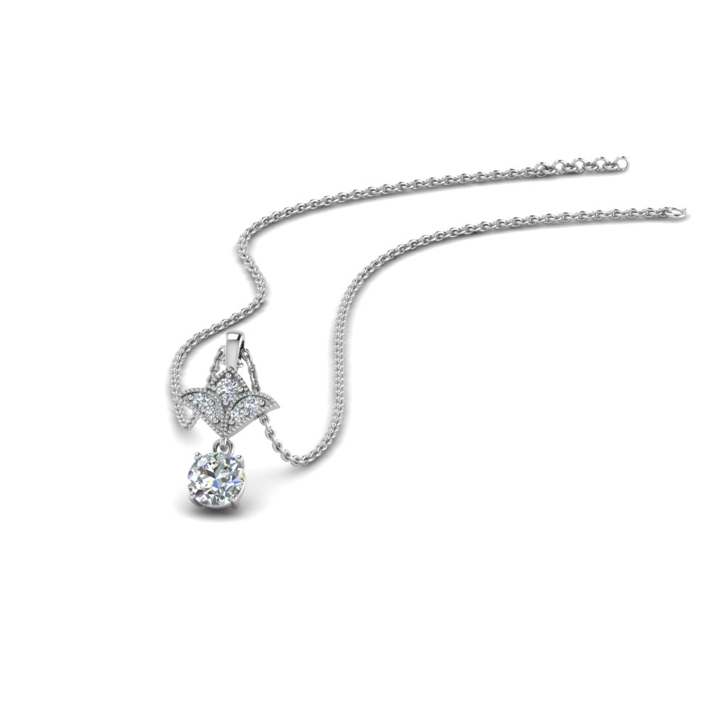 Milgrain 0.25 Ct. Round Diamond Drop Pendant In 14K White Gold