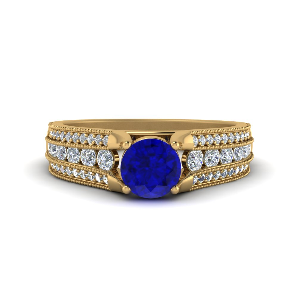 milgrain 3 row sapphire engagement ring in 14K yellow gold FD8680RORGBS NL YG