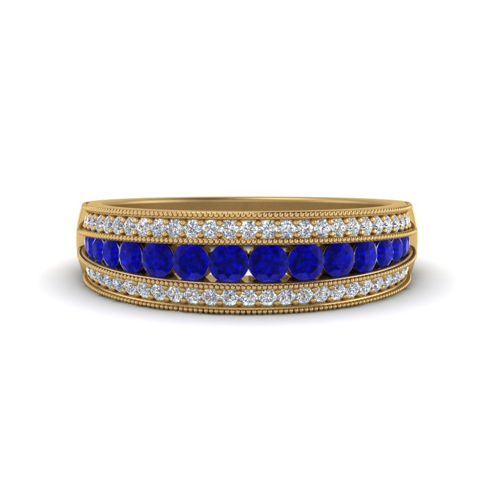 milgrain antique looking diamond wedding ring with sapphire in 14K yellow gold FD8680BGSABL NL YG